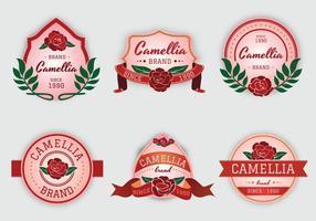 Camellia Blumen rosa Etikett Vektor