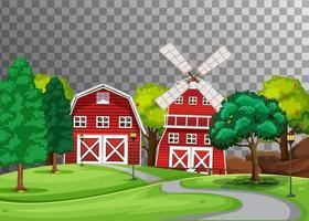 Bauernhof mit roter Scheune und Windmühle vektor