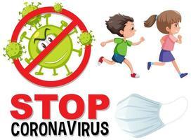 Stoppen Sie das Coronavirus-Logo, während Kinder laufen vektor