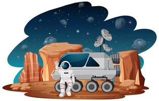astronaut i rymdscenen vektor
