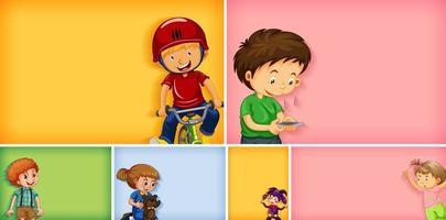 Satz von verschiedenen Kindercharakteren auf verschiedenen Farben