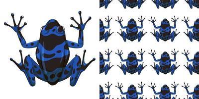 blauer Pfeilgiftfrosch lokalisiert auf weißem Hintergrund und nahtlos