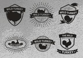 Wilder Truthahn Silhouette Logo-Label vektor
