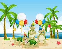 Schildkrötengruppe im Parteithema vektor