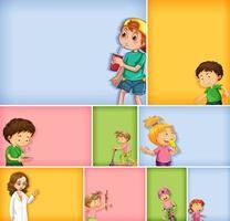 uppsättning av olika barnkaraktärer