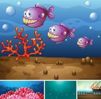 fyra olika scener av tropisk strand