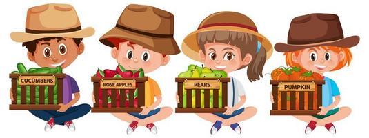 uppsättning barn med frukt eller grönsaker vektor