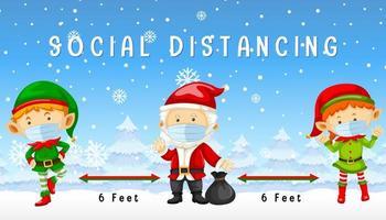 Weihnachten feiern mit sozialer Distanzierung vektor
