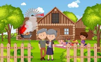 picknickplats med lycklig familj i trädgården