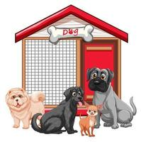 Hundekäfig mit Hundegruppe vektor