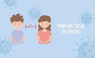 Coronavirus-Prävention mit sozialer Distanzierungsbotschaft vektor