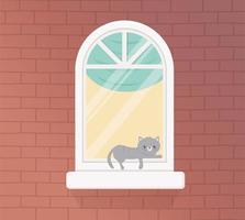 lägenhetsfönster och tegelvägg vektor