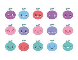 kawaii Emoji Frucht Cartoon Set vektor