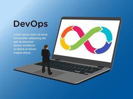 Devops Mann steht auf Laptop-Design vektor