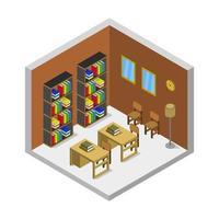 isometrisk bibliotek rum vektor