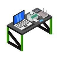 isometrisk skrivbord på vit bakgrund vektor