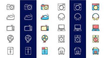 ställa ikoner för elektronik med färg vektor