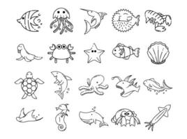 Stellen Sie Symbole für den Stil der Meerestierlinie ein vektor