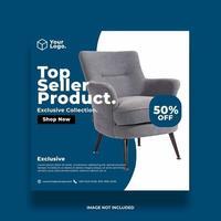 vita och blå möbler annons sociala medier banner vektor