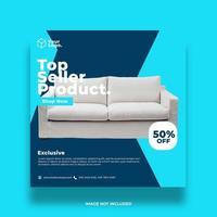 blå möbler sociala medier fyrkantig banner vektor