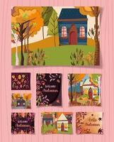Willkommen Herbst Kartenset vektor