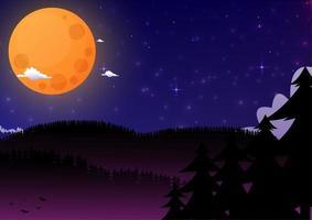 Hintergrundnacht mit Mond und Sternen vektor
