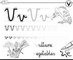 lära sig att skriva bokstav v arbetsbok för barn vektor