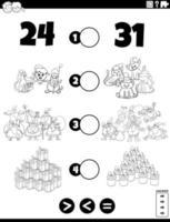 större, mindre eller lika uppgift för barnfärgning vektor