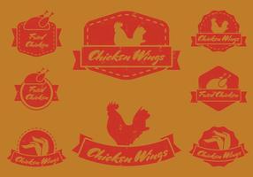 Weinlese-Chicken Wing Badge vektor