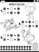 matematikuppgift med santa färgbok sida vektor