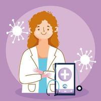 online läkarbesök koncept med läkare och smartphone vektor