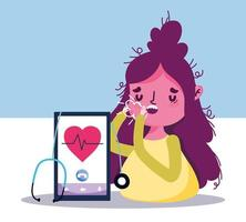 Online-Gesundheitskonzept mit krankem Patienten vektor