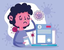 online-vårdkoncept med sjuk patient vektor