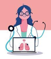 Online-Arztbesuchkonzept mit Arzt und Laptop vektor