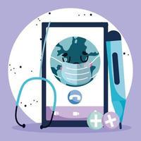 Online-Gesundheitskonzept mit trauriger Welt vektor