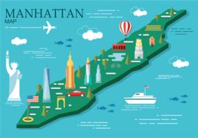 Manhattan Karta Vector Illustration