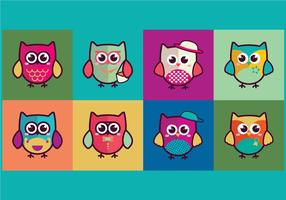 Färgrik Gullig Owlsnågot vektor