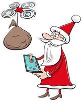 Weihnachtsmann-Weihnachtszeichentrickfilmfigur mit Drohne vektor