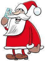 Weihnachtsmann-Zeichentrickfilmfigur des Weihnachtsmannes mit Smartphone vektor