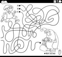 Linienlabyrinth mit Weihnachtsmann und Junge vektor