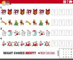 Musteraufgabe für Kinder mit Comic-Weihnachtsfiguren vektor