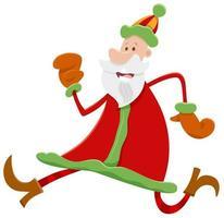 laufende Weihnachtsmann-Zeichentrickfigur zur Weihnachtszeit vektor