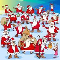 Weihnachtsmann Gruppe zur Weihnachtszeit vektor