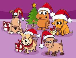 Hundekarikaturfigurengruppe zur Weihnachtszeit