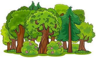 blandad skog med träd tecknad vektor