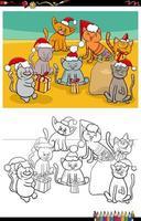 Katzengruppe auf Weihnachtszeit Malbuchseite vektor