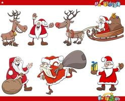 Cartoon Santa Claus Weihnachtsferien Zeichen gesetzt