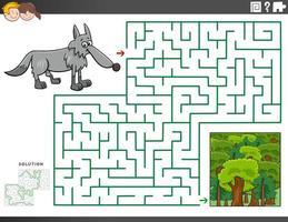 labyrint pedagogiskt spel med varg och skog vektor