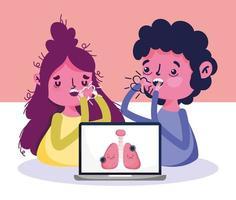 online vårdkoncept med sjuka patienter