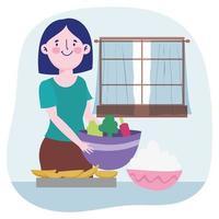 ung kvinna som lagar mat inomhus vektor